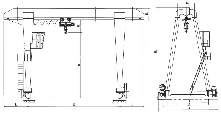 1 Ton Single Girder Gantry Crane Design Specifications